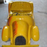Car used on ride in shops stripped in caustic Fibre glass